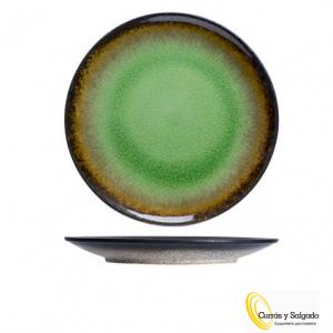 Plato llano fervido green medida 26,5 cm. Plato fervido color verde. Estas piezas son una de las mejores colecciones de esta marca de cosy and trendy. Con color verde esmeralda, rodeado de un borde negro, haciendo una pieza muy llamativa. Consta de tres colores, verde, azul y amarillo, con algunas piezas mas, puede darse de alta en esta web y descargar los catálogos. Al tener varios colores, se puede mezclar y presentar una mesa espectacular. Son fáciles de apilar, se pueden lavar al lavavajillas. Puede pedirnos una muestra, se la enviaremos sin ningún problema.